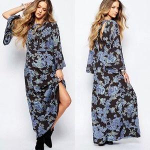 Free People Black Blue Floral Melrose Maxi Dress